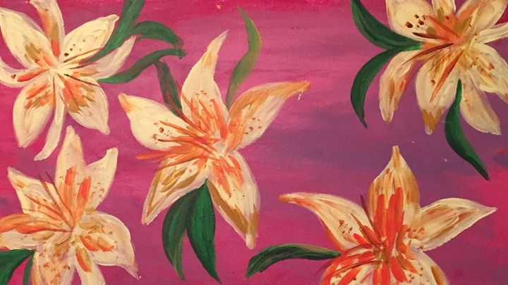 Yellow & Orange Lillies on purple - Sima Fisher