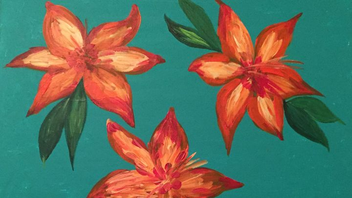 Orange & Yellow Lilly's on Aqua! - Sima Fisher