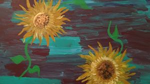Sunflowers on purple and Aqua