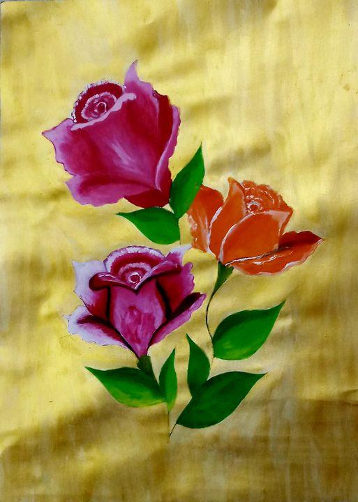 Rose flowers on Golden background. - Nikita