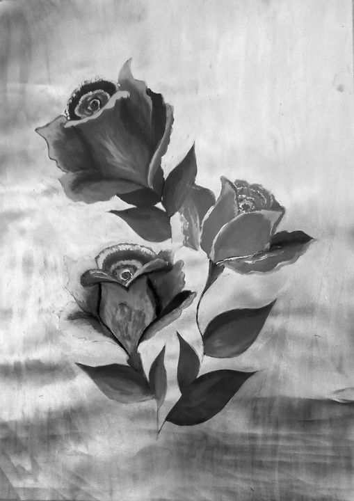 Black and white rose painting. - Nikita