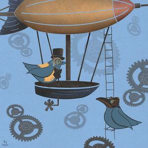 the birds do steampunk - ArrowPuppyArt/Sara Frane