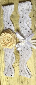Golden Rose Wedding Garter Set
