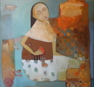 femme et la pomme