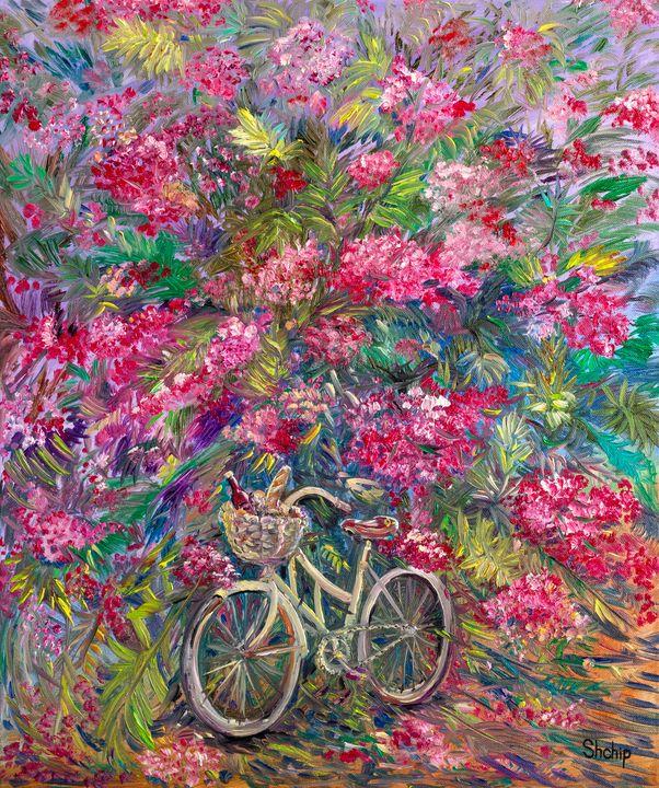 Bicycle under a flowering bush - Natalia Shchipakina