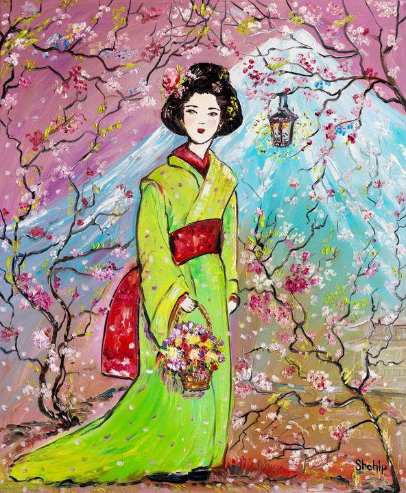 Japanese Girl in The Sakura Garden - Natalia Shchipakina