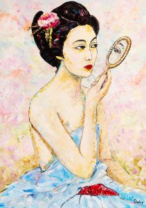 Japanese Woman Looking At Herself