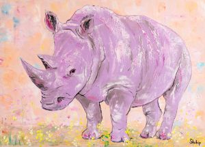 Purple Rhino. Blooming Savanna