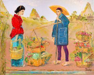 Seller of Vegetables. Japan