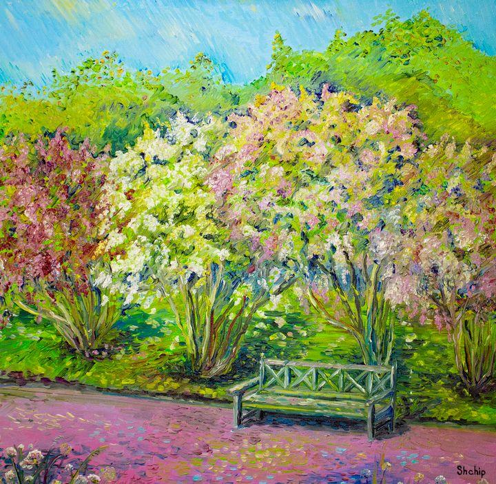 Bench in the lilac park - Natalia Shchipakina