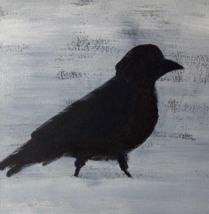 blackbird in snow - Elaine Nardini-Harris