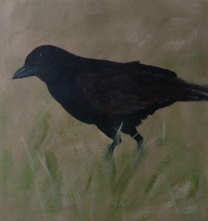 blackbird in grass - Elaine Nardini-Harris