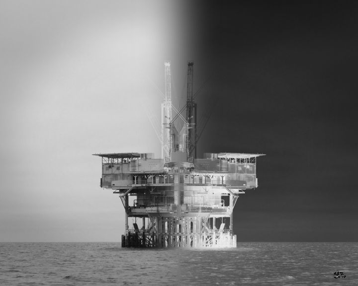 Oil Platform Illusion - Digital Paintings And Photos by Alfred Trerotola