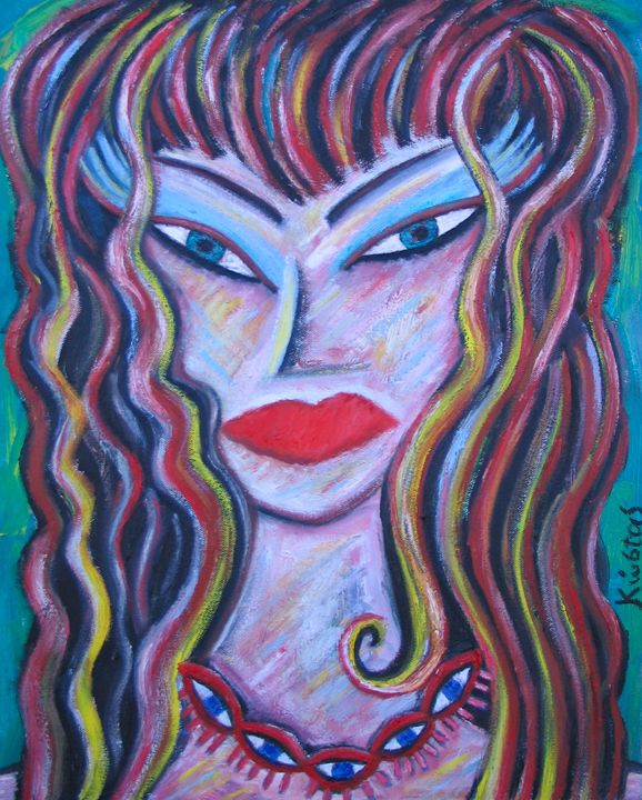 GIRL WITH EYE NECKLACE - Kostas The Artist