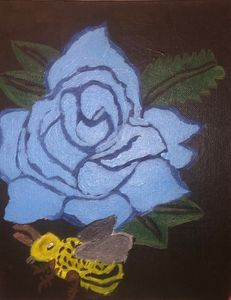 Blue rose and a bee
