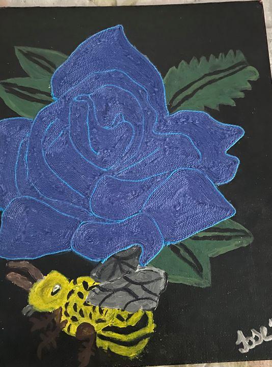 Acrylic painting and yarn artwork - Jose Virgen