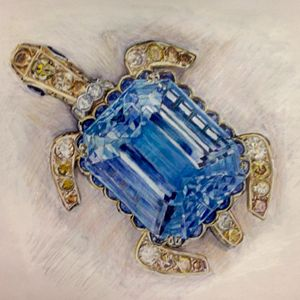 Aquamarine Turtle Brooch