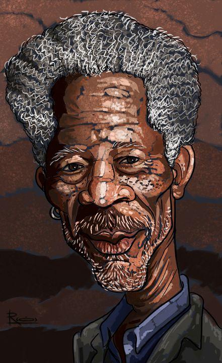 morgan freeman caricature - reza.m.jozani.art