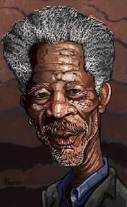 morgan freeman caricature - reza.m.jozani.art