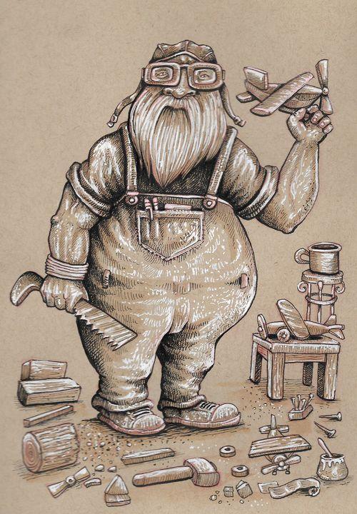pilot old man cartoon - reza.m.jozani.art
