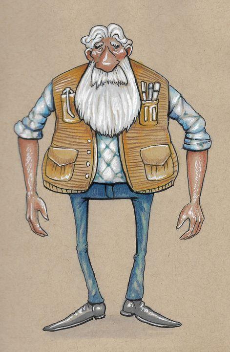 old man cartoon - reza.m.jozani.art