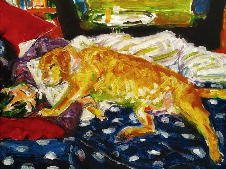Man with dog in bed - G.H. Rabbath