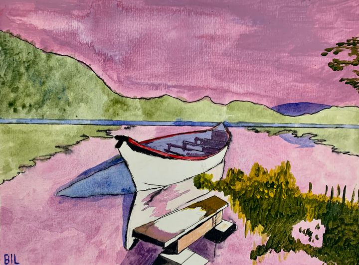 Canoe by the lake - Artworks by BIL