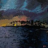 Downtown Kona sunset by the beach