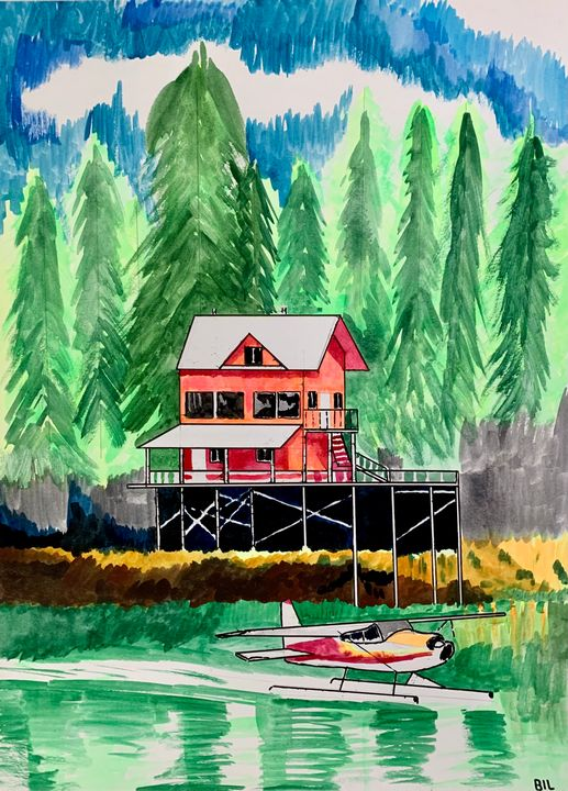 Seaplane and cabin by the Water - Artworks by BIL