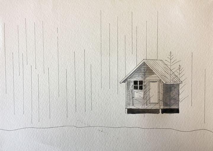 cabin by a lake B&W - Artworks by BIL