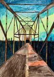 Bridge in AK with Aurora Borealis