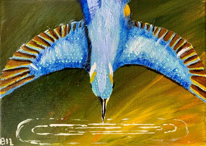 Kingfisher Diving into the Water - Artworks by BIL
