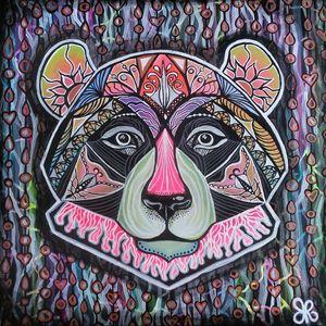 """""""Techno Bear"""" Acrylic Painting"""