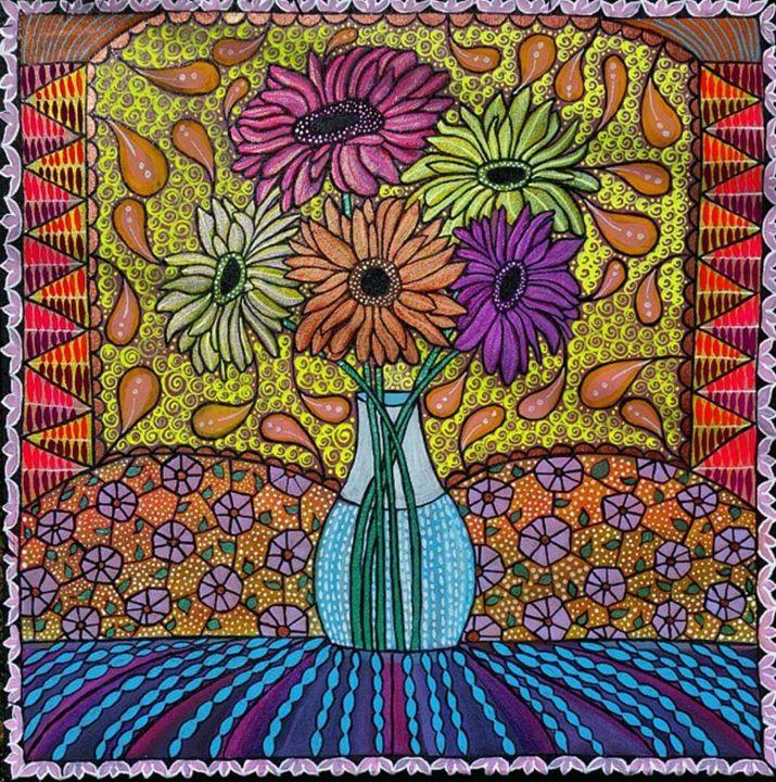 """Gerbera Daisies"" Acrylic Painting - Jennifer Riehl"
