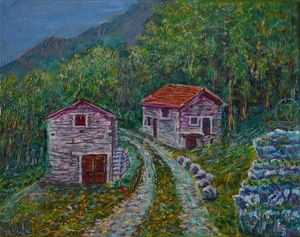 Oil Painting  - Swiss Country Road