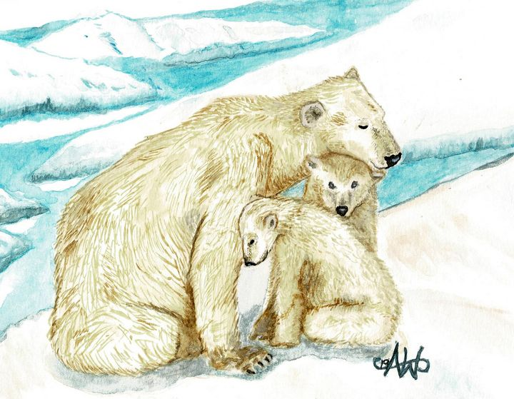 Polar Bears and cubs - Angie Worlton