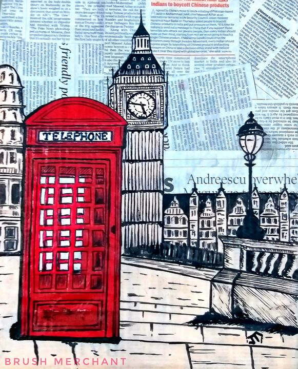 Paper pop art of London - BRUSH MERCHANT