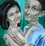 Eshaal and Basim oil painting