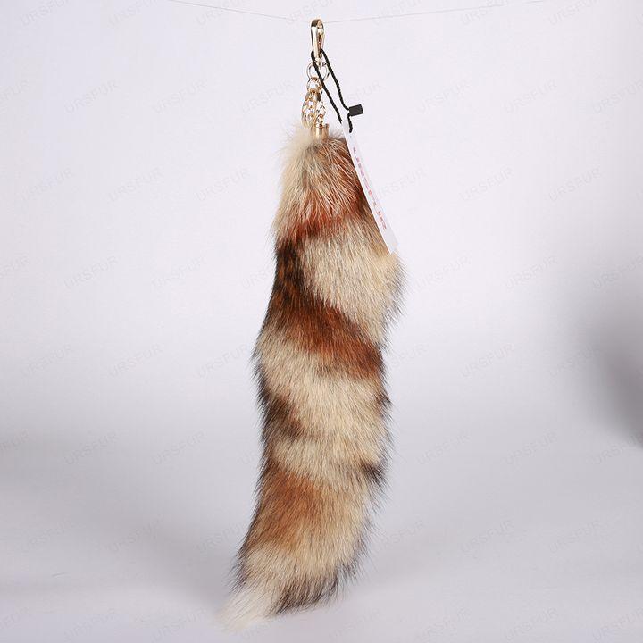 White Swift Fox Tails Fur Keychain - URSFUR