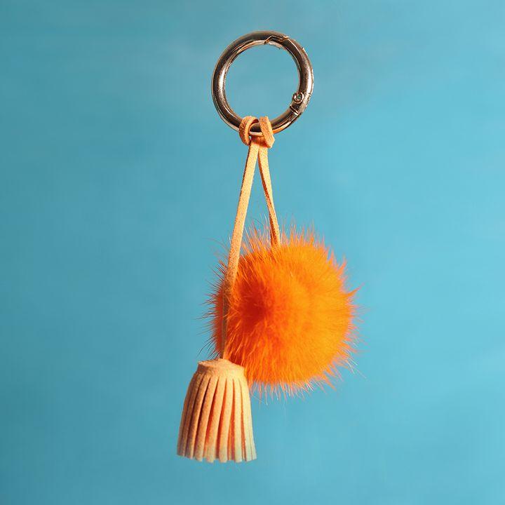 Mink Fur Ball Pom Keychain Orange - URSFUR