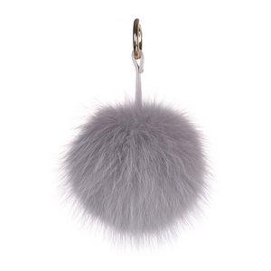 Fox Pom Keychain Light Gray