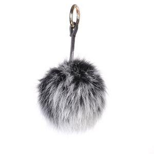 Fox Pom Keychain Gray Frost