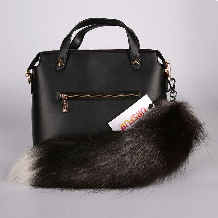 Silver Fox Tail Fur Bag Keychain - URSFUR