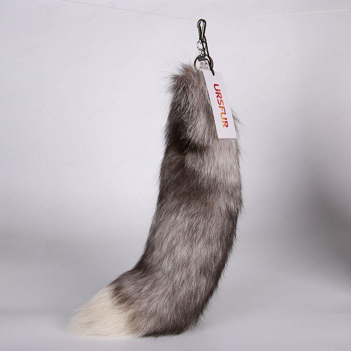 Silver Blue Fox Tail Fur Keychain - URSFUR