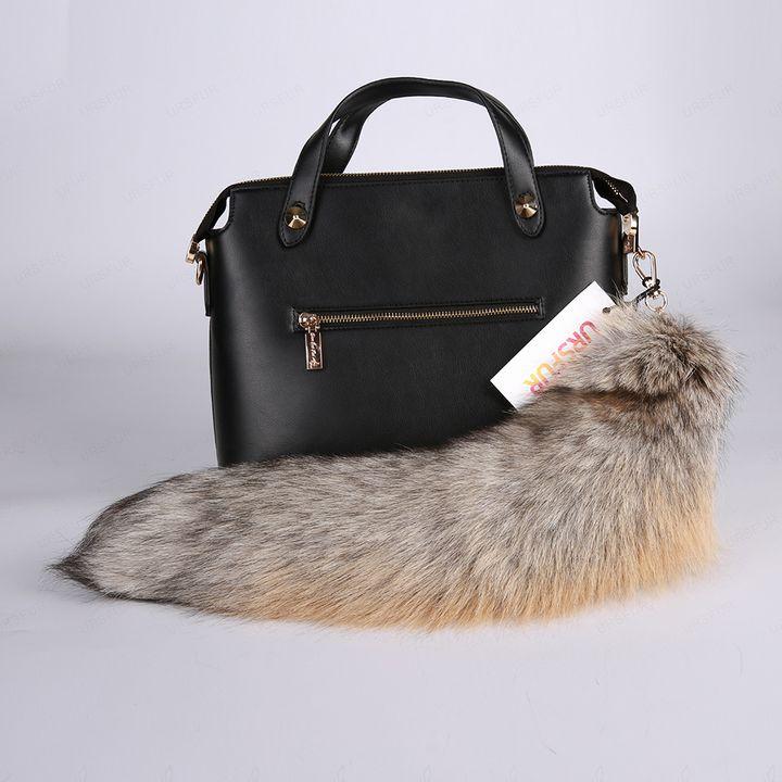Golden Island Fox Tail Fur Keychain - URSFUR