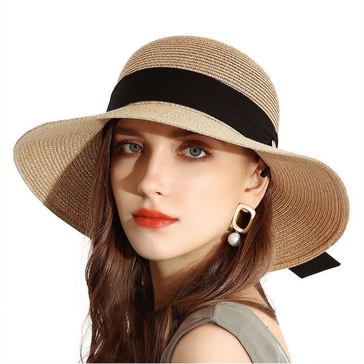 Summer Sun Bucket Straw Hats Camel - URSFUR