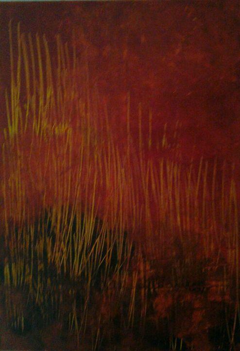 savane sous soleil rouge - atelier d'art du moulin Patrick Lemoine
