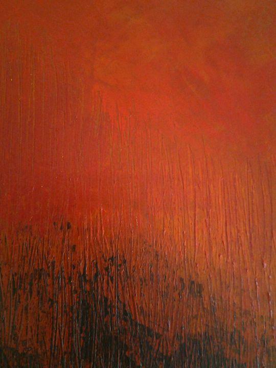 Savane sous le soleil rouge 3 - atelier d'art du moulin Patrick Lemoine