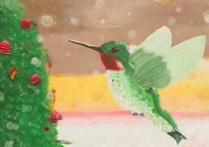 Hummingbird Celebrating Christmas