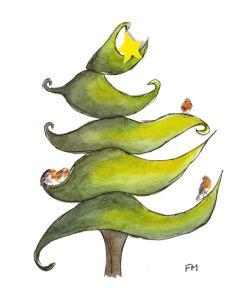 Whimsical Christmas Tree with Robins